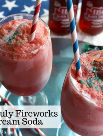 This 4th of July Fireworks Ice Cream Soda has a red, white and blue hue, just in time for the holiday! Sweet, cherry soda, ice cream and exploding Pop Rocks!