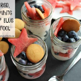 A layered fruit and cream dessert variety of fool! This fool boasts red, white and blue in the form of red watermelon stars, fresh, white whipped cream and juicy blue blueberries. Topped with a cookie. A sweet, vanilla, crunchy cookie to complete this fruity fool.