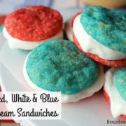 Decadent lemon-vanilla ice cream is sandwiched between homemade sugar cookies: one red and one blue!