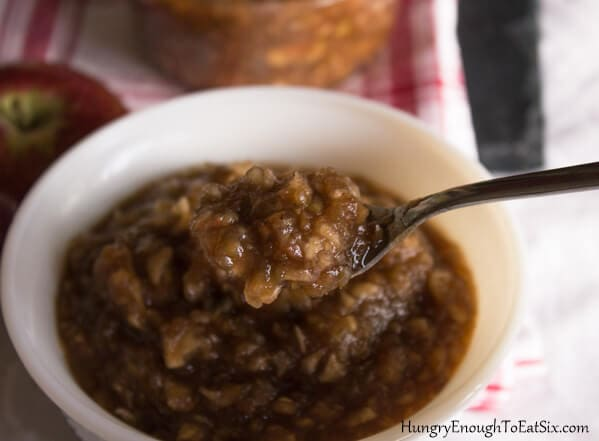 Warm or chilled, this is a sweet and chunky applesauce full of spices and a perfect little bite of fall.