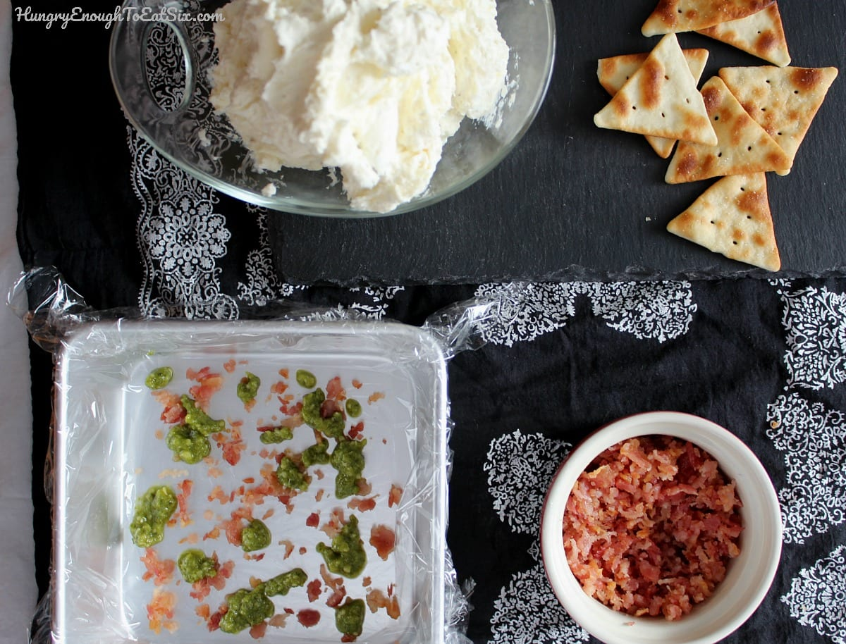 Cheese, diced bacon adn a square baking pan