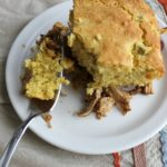 A savory, spicy supper pie with shredded pork and cornbread!