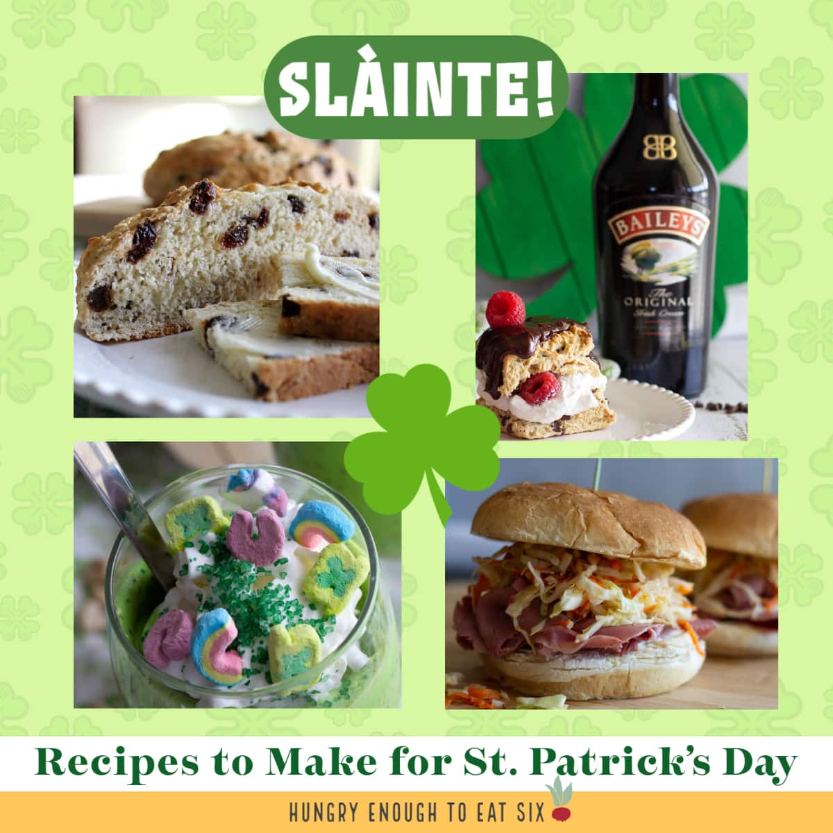 Irish foods like bread, Baileys, Lucky Charms, and sandwiches