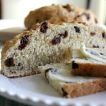 Image of Aunt Lizzys Irish Soda Bread slices spread with butter.