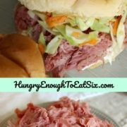 Corned beef is piled high on grilled potato rolls spread with horseradish, and topped with a tangy cabbage and carrot slaw. The tender meat and crunchy slaw all captured in the soft roll - yum!