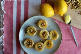 The pastry cups are full of bright,citrusy lemon curd and topped with salty pistachios!