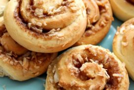 The flavors in the sweet buns are delectable together, with coconut bringing a soft chewiness and the toffee a bit of crunch. And a sweet, simple glaze over the top. Have these on hand for your midday cup of coffee or tea, and do not be afraid to truck them out at breakfast!