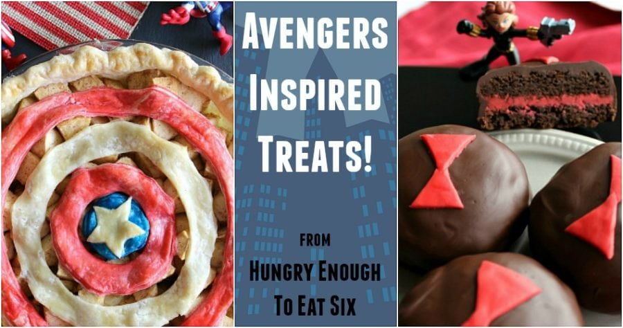 Collage of Captain America Pie, Black Widow cookies and text.