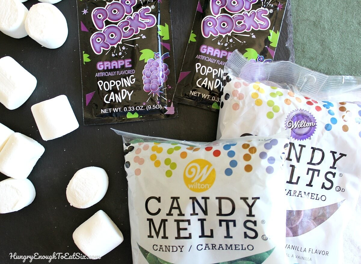 Candy melts, marshmallows and grape Pop Rocks
