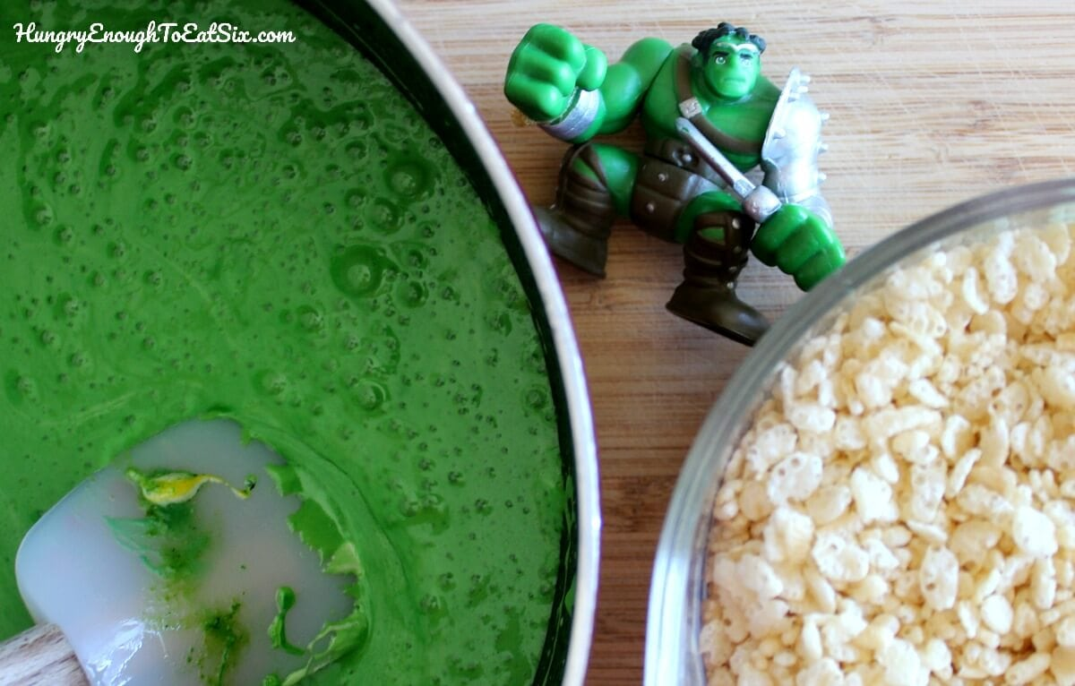 Green melted candy, crisp rice cereal and a Hulk toy