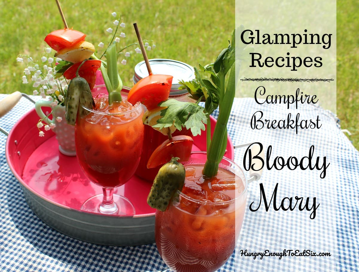 Image of Campfire breakfast Bloody Marys on tray