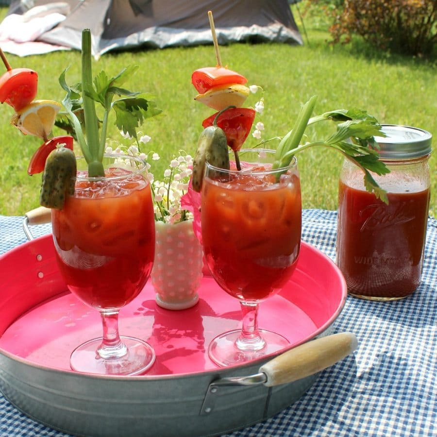 Bloody Mary drinks on a pink tray