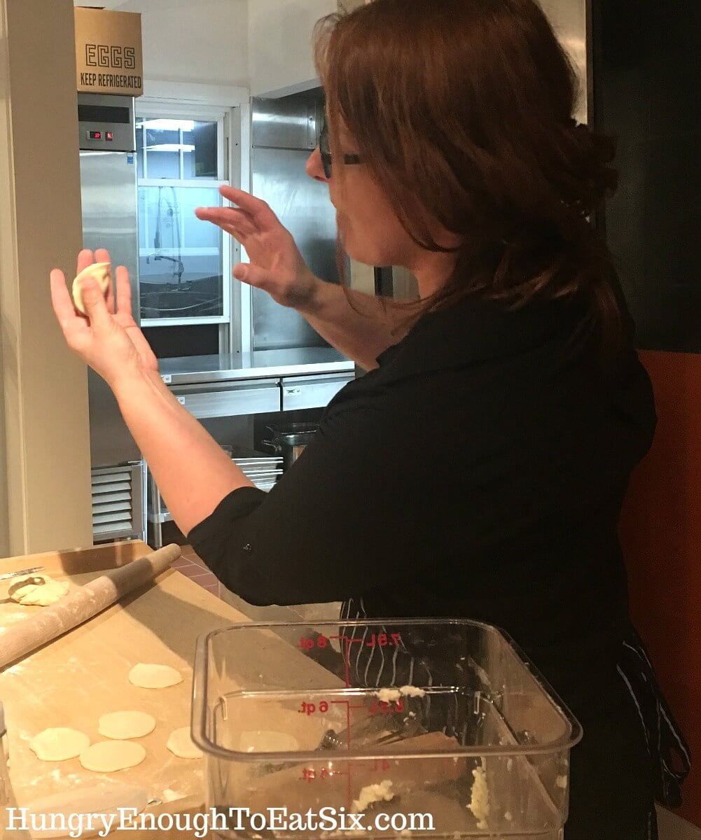 Image of Luiza Bloomberg-Seinko making pierogi