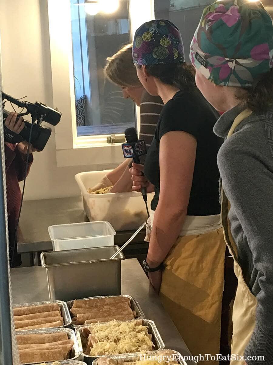 Image of Meteorologist Amanda Thibault making enchiladas