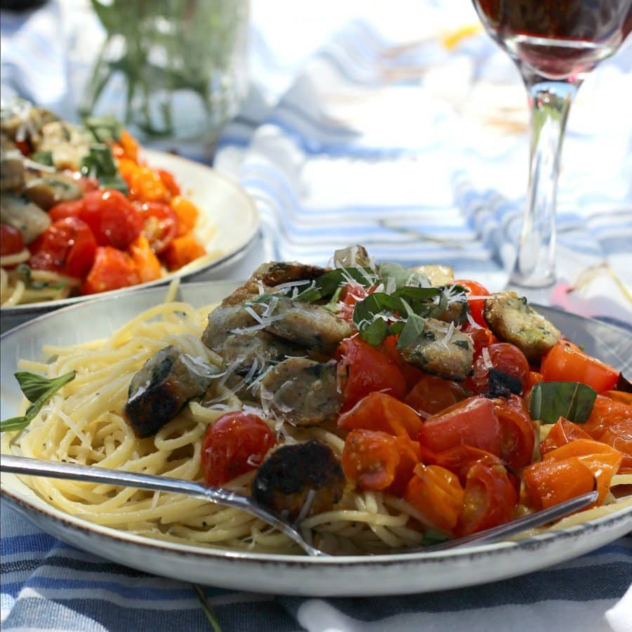 Pasta with Grilled Tomatoes Chicken Sausage + Basil.HungryEnoughToEatSix.com