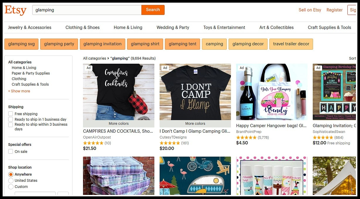 Screenshot of Etsy.com page with search of Glamping