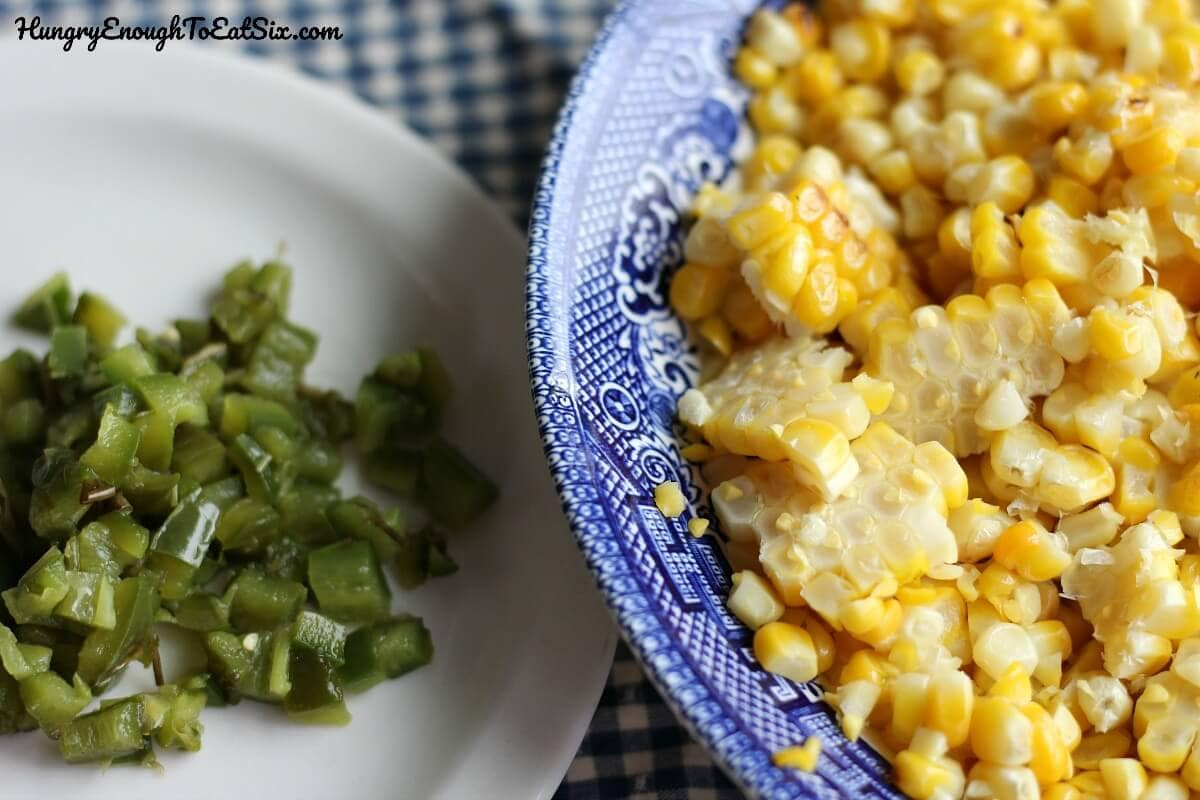 Image of diced jalapeno and corn kernels in bowls