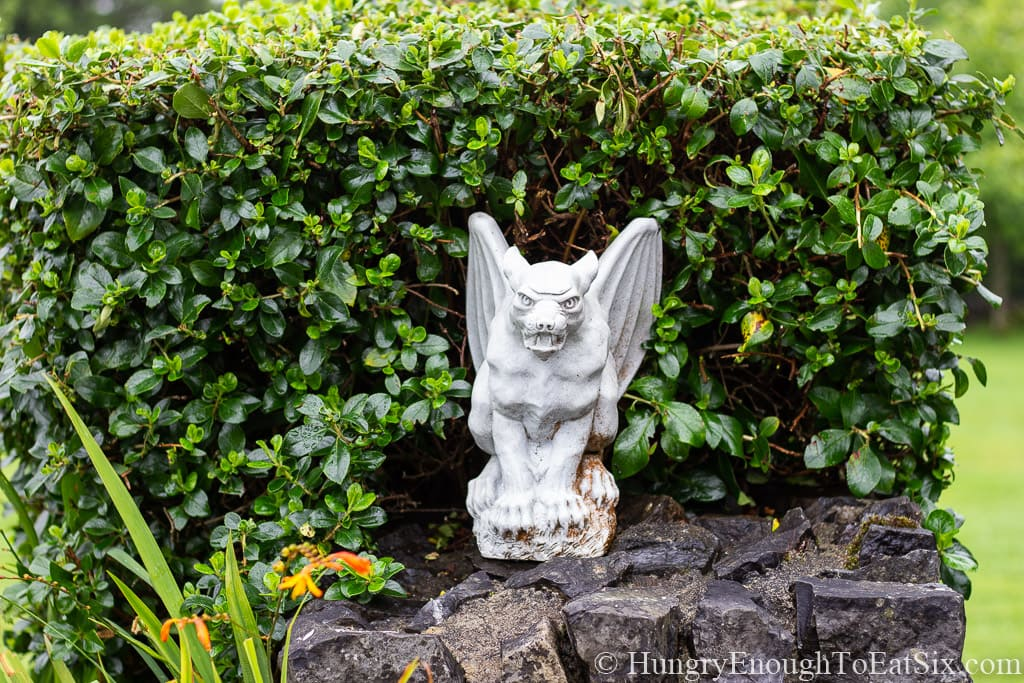 Image of a gargoyle statue at Rossmore Manor, Donegal