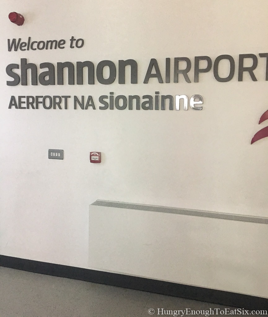 Image of welcome sign at Shannon Airport, Ireland