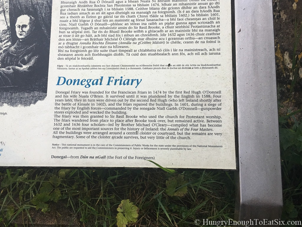 Image of the informational sign at Donegal Abbey