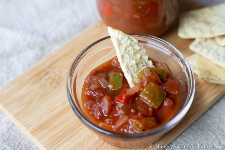 Image of Chillia Sauce in a dish with a pita chip