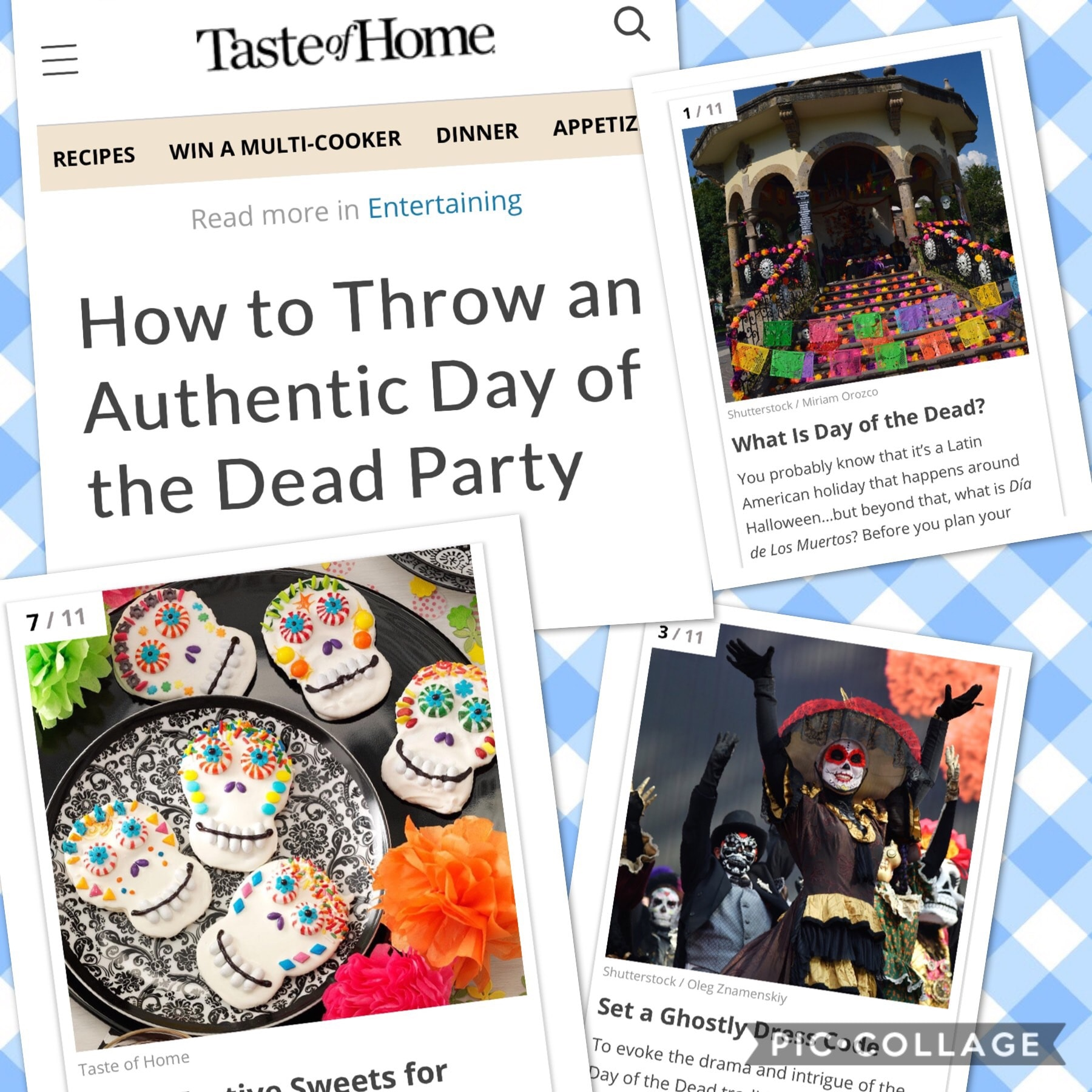 Collage of images from Taste of Home article about a Day of the Dead Party