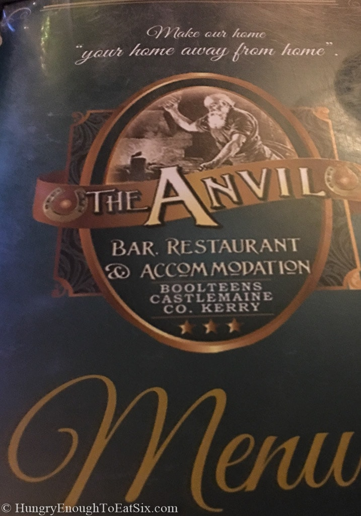 Menu at the Anvil Bar & Restaurant, Castlemaine, Ireland.