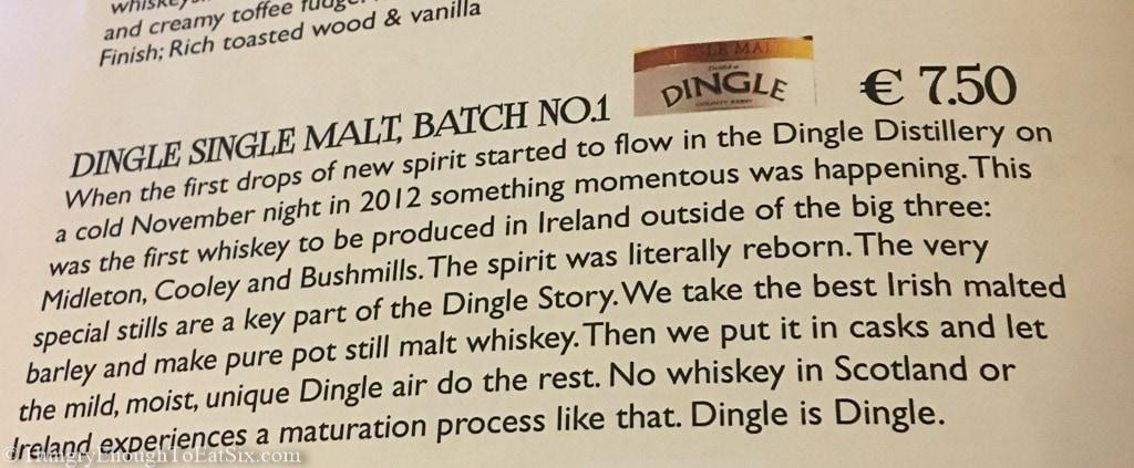 Note on Dingle Single Malt Whiskey inside menu.
