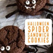 Spider cookies made of chocolate cookies and candy