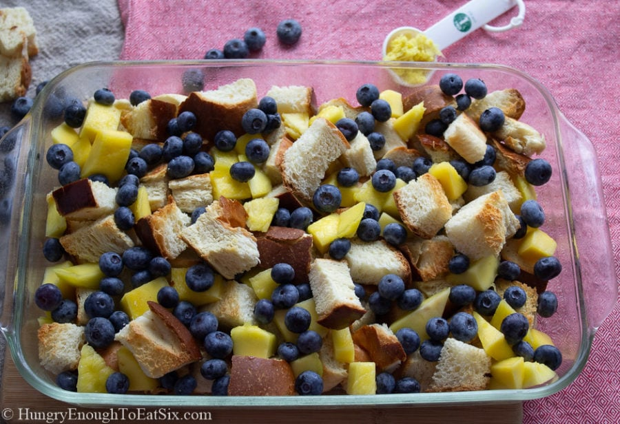 Image of a pan of fruit and bread cubes