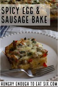 Vertical image of Spicy Egg & Sausage bake