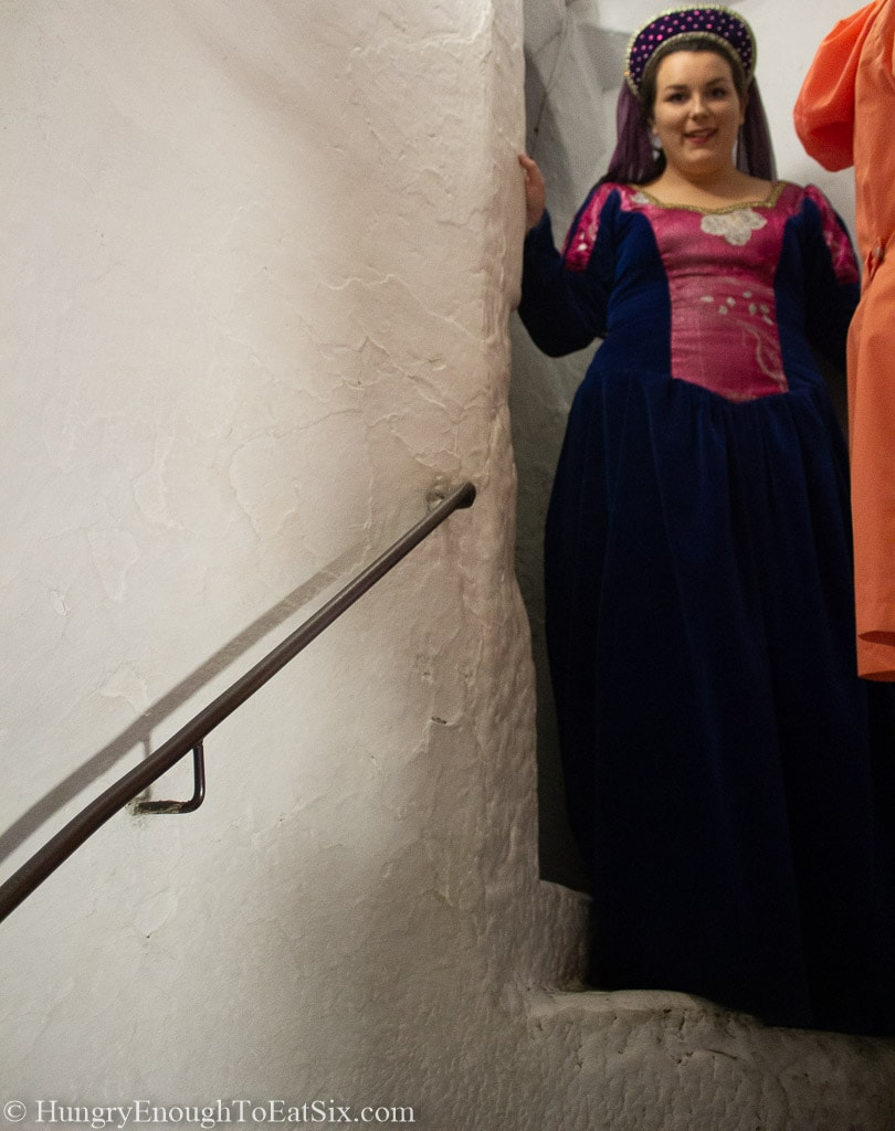 Image of woman in medieval gown at the top of a stairwell in Bunratty Castle