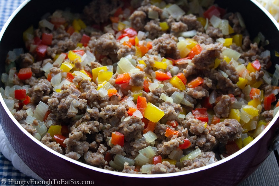 Image of sauteed peppers, onions and sausage