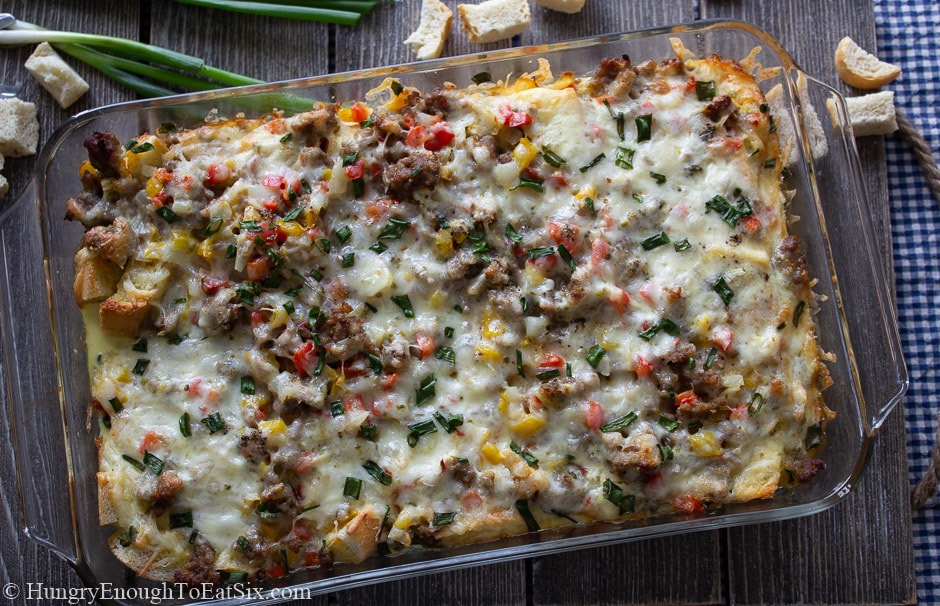 Image of a pan of baked Spicy Egg & Sausage Bake