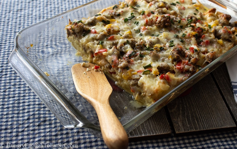 Image of Spicy Egg & Sausage Bake in a casserole dish