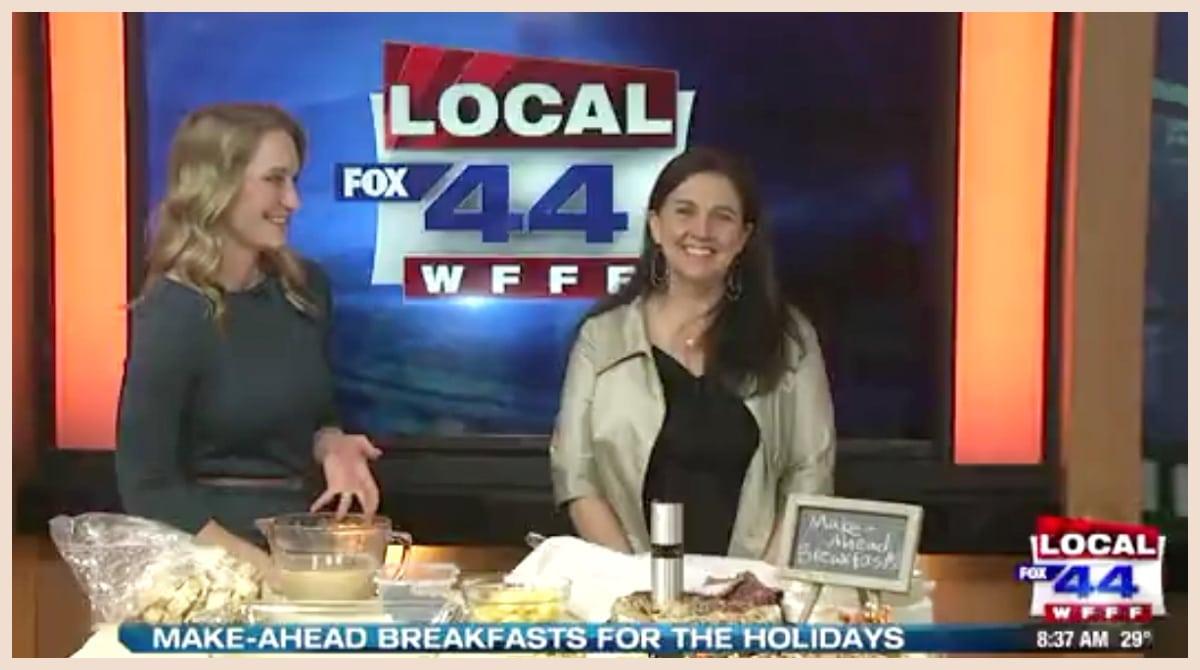 Screenshot of Nancy Mock sharing recipes on Fox Local 22/44 News.