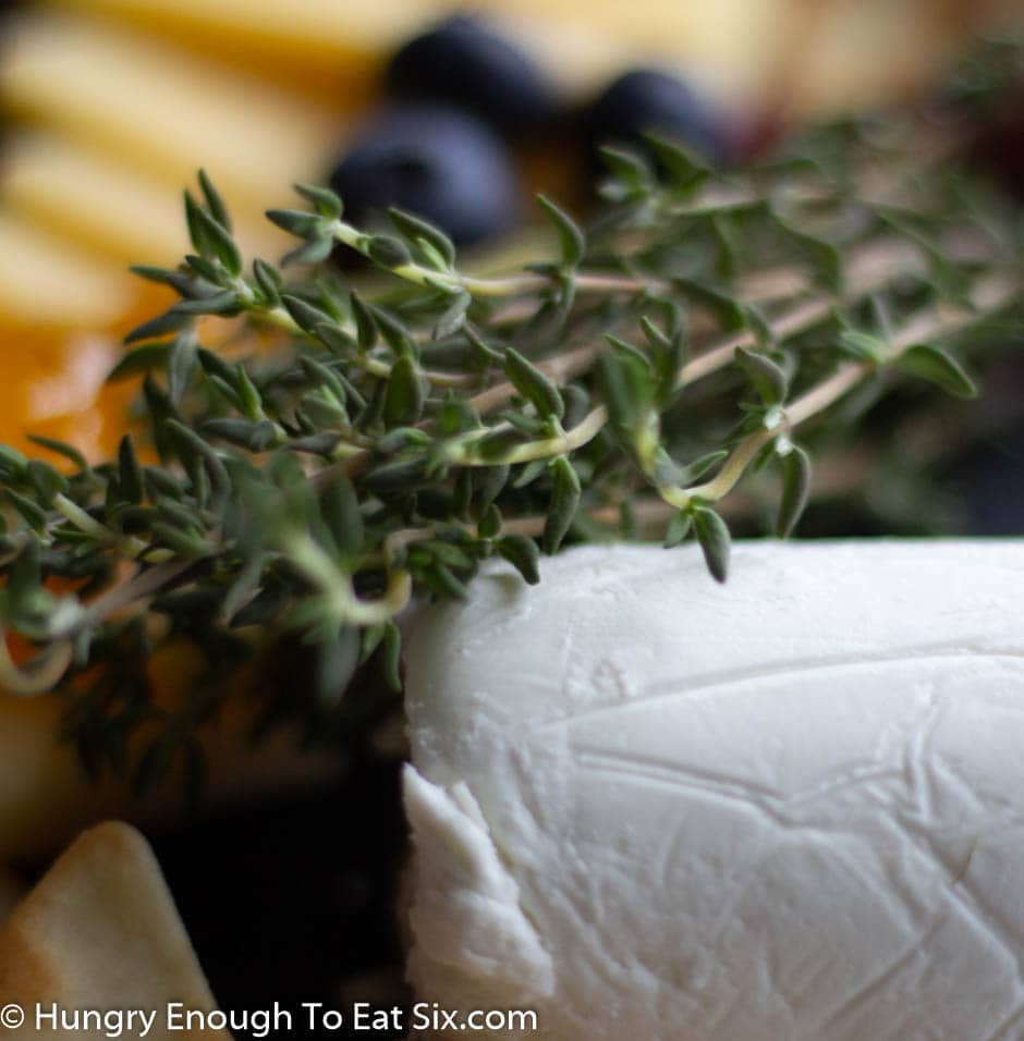 Sprig of thyme laying across a goat cheese log