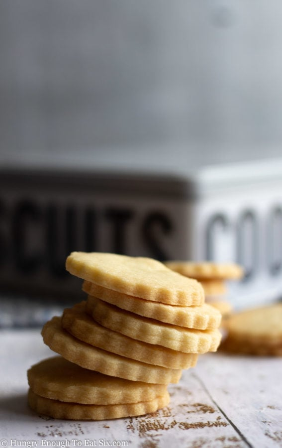 Stack of cookies on a white surface