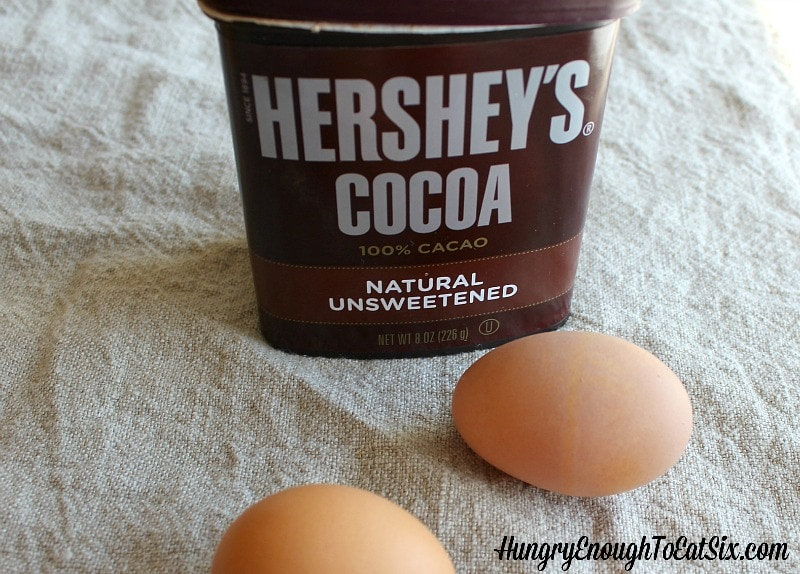 Hershey's cocoa powder and eggs