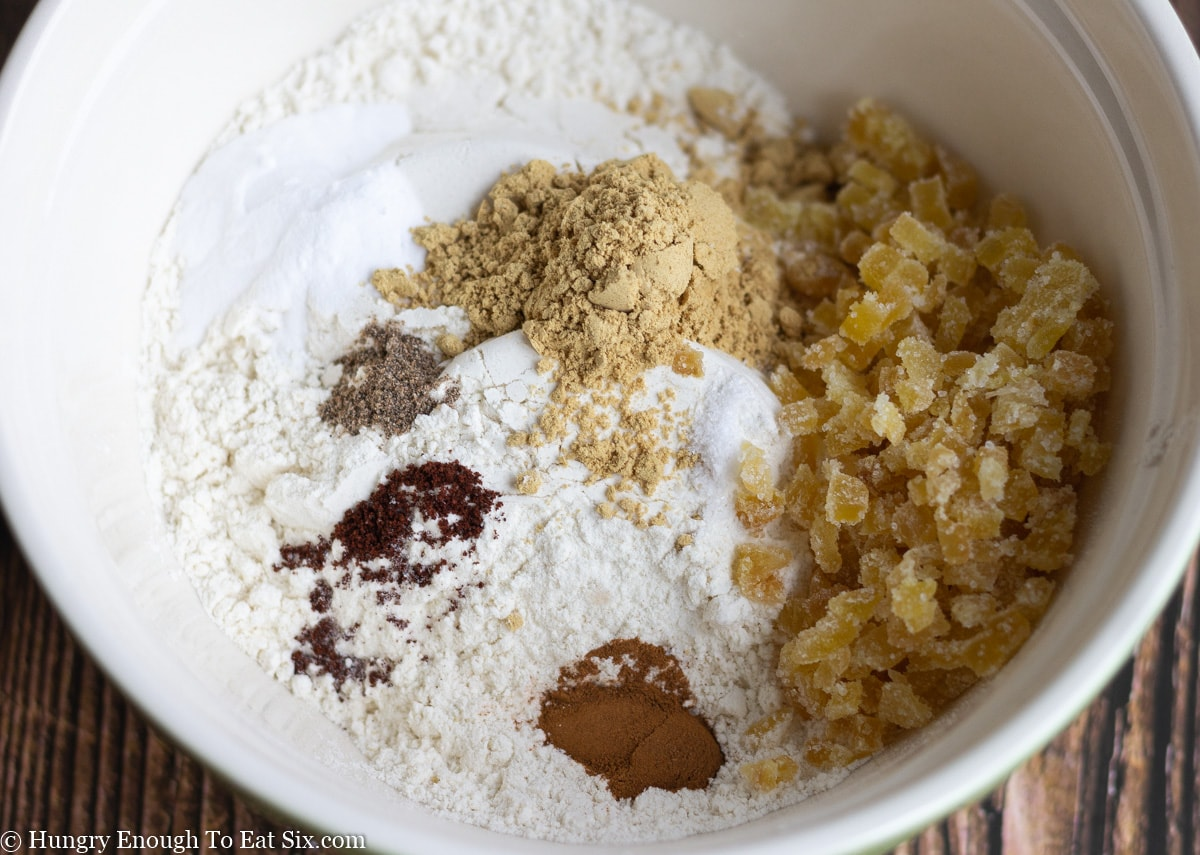 Flour and spices in a white bowl
