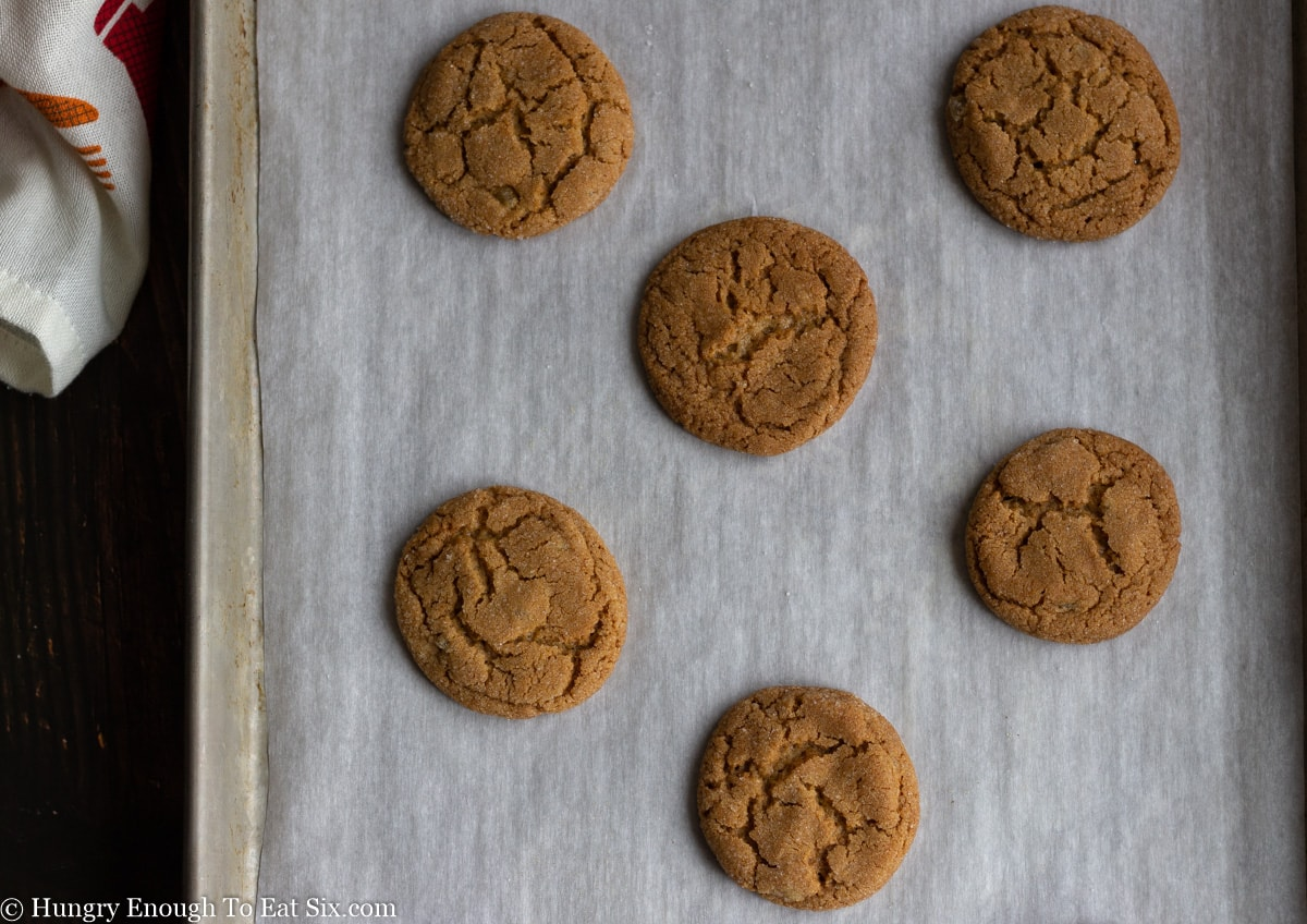 Six brown round cookies on a baking sheet