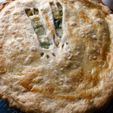 Whole pie with browned crust and leek-shaped cutouts in top