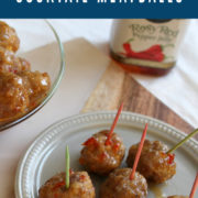 Meatballs with sauce and toothpicks