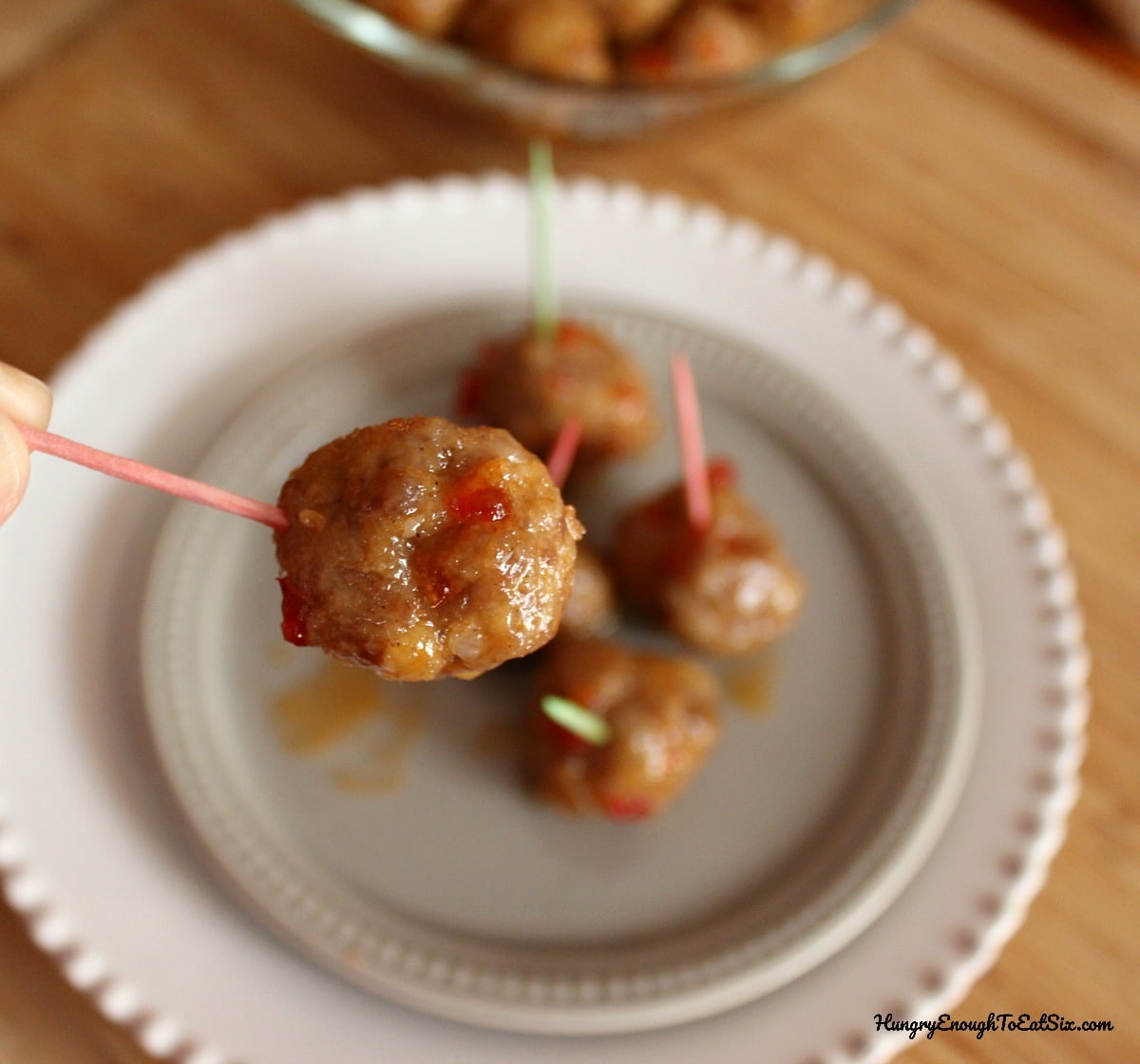 White plate with meatballs