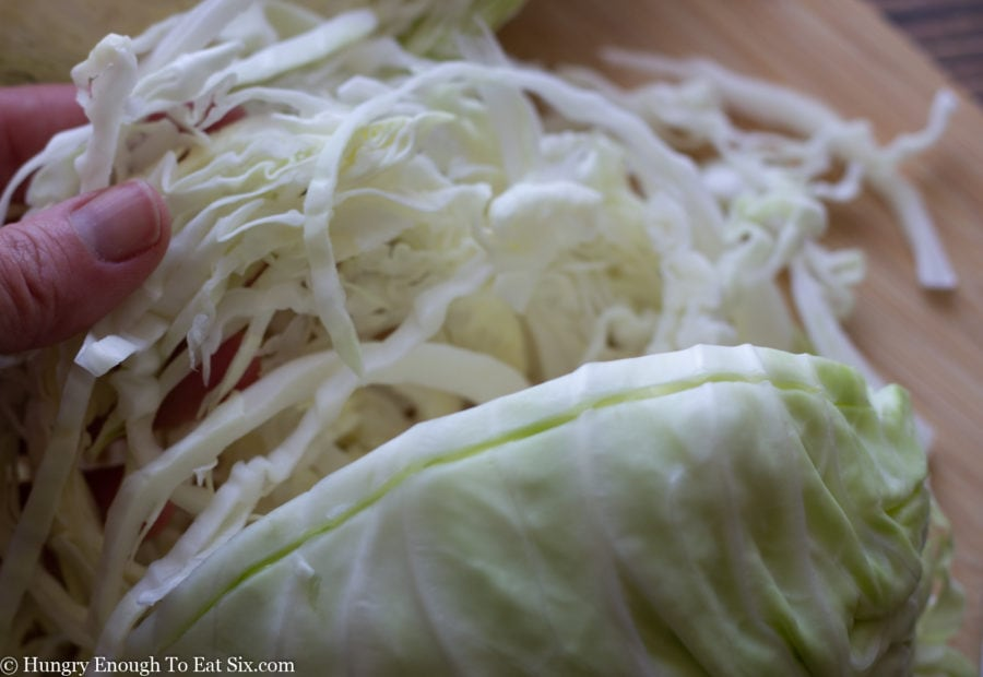 Cabbage sliced into shreds.