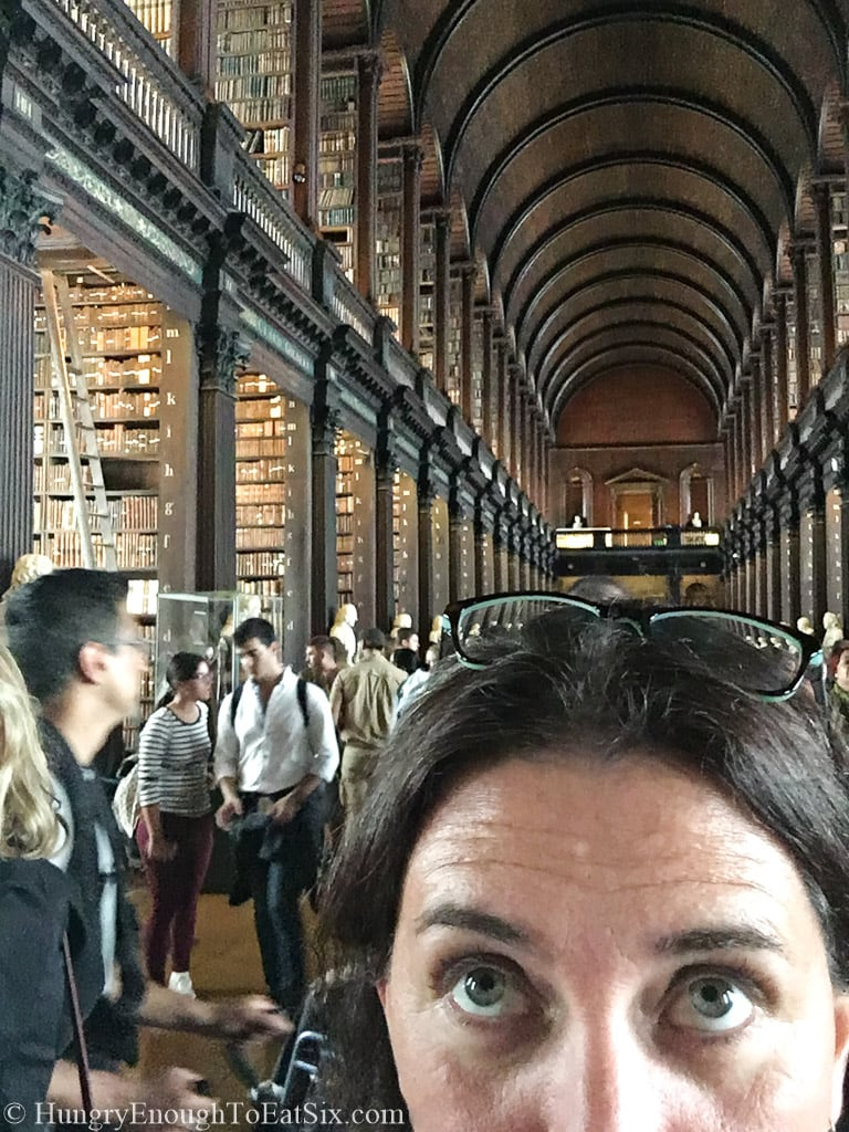 Library behind a woman's forehead