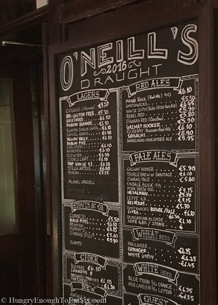Chalk board menu at a pub