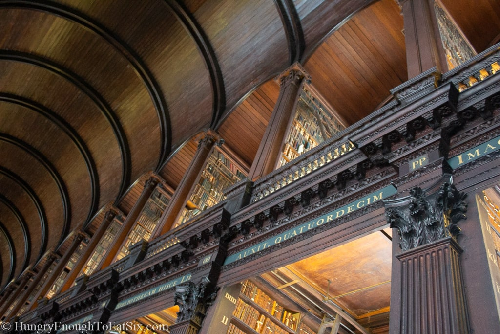 Vaulted ceilings of a wood library