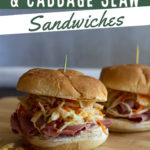 Two corned beef and slaw sandwiches with text overlay.