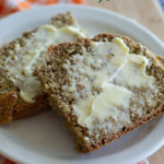 Two slices of Irish Brown Bread with butter.